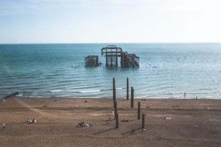 The old burnt West Pier.