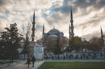 Outside in the park of the Blue Mosque.