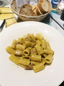 A delicious Carbonara, Mezze Maniche pasta, organic bacon from Amatrice, PDO Roman pecorino, organic eggs, black pepper