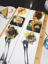 The Sea & The Earth Theme. Otopus, Sword Fish & Prawns. Beef Carpaccio, Mozerella and Brown & White Rice with Pepper.